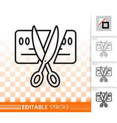 card scissors cut simple black line icon vector image