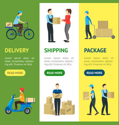 cartoon delivery workers banner vecrtical set vector image