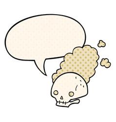 Cartoon dusty old skull and speech bubble in vector