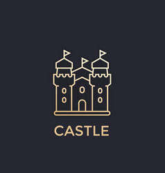 castle fortress icon gold linear style vector image