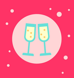 champagne glasses icon on pink background vector image