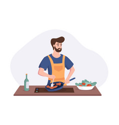 Chef cooking dinner at table in kitchen vector