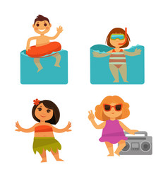 Children bathing icons of baby holiday vector