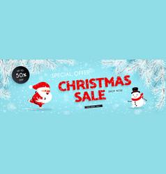 Christmas sale banner santa claus snowman vector