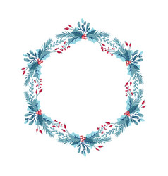 christmas wreath with berries pine cone vector image