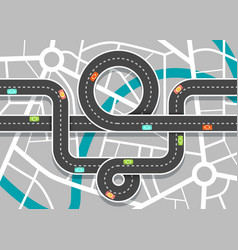 city road map with streets highway on town aerial vector image