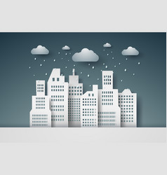 Cityscape with rain paper art style vector