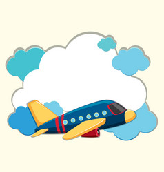 cloud border with blue airplane vector image