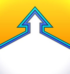 Colorful up arrow with yellow and blue paper vector image