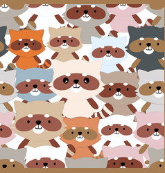 cute cartoon raccoon seamless pattern vector image