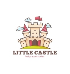 Cute little castle logo for baby shop Kids vector
