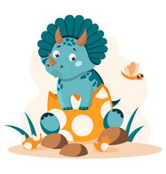 Cute little dinosaur vector