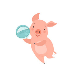 cute little pig playing with ball funny piglet vector image