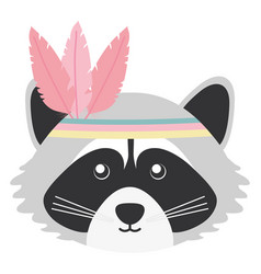 Cute raccoon with feathers hat bohemian style vector