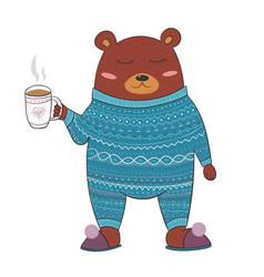 Cute sleepy bear in pyjamas with hot beverage vector