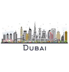 Dubai uae skyline with gray buildings isolated vector