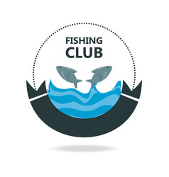 emblem related with fishing club vector image