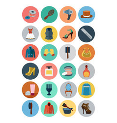 Fashion Flat Icons 4 vector image