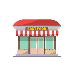 fast food shop building facade icon vector image