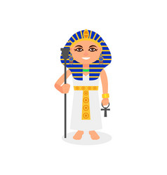 Female pharaoh with scepter and ankh cross in vector