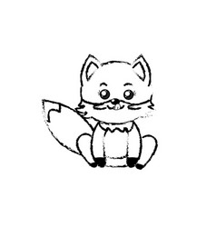 Figure cute fox wild animal with face expression vector