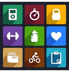 Fitness flat icons set 18 vector image
