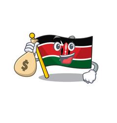 Flag kenya holding money bag cartoon vector