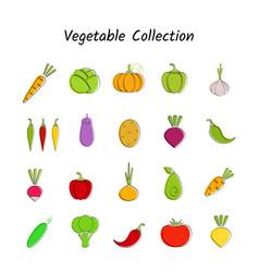 flat design vegetable icon set with black contour vector image
