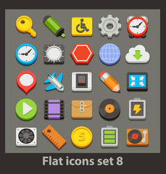 flat icon-set 8 vector image