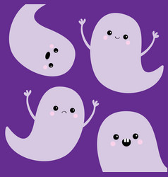 flying ghost spirit set happy halloween four vector image