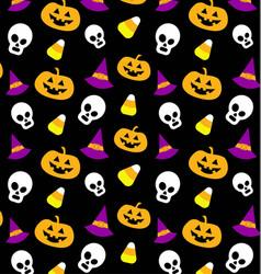 Fun seamless black halloween pattern vector