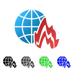 Global fire flat gradient icon vector