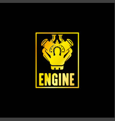 Golden engine power emblem vector