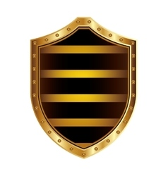 golden shield with colorful horizontal lines shape vector image