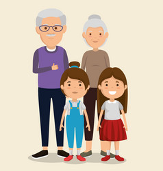 Grandparents couple with kids avatars characters vector