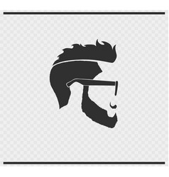 Hairstyle icon black color on transparent vector