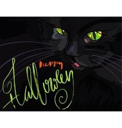 Halloween black cat with green eyes Halloween vector