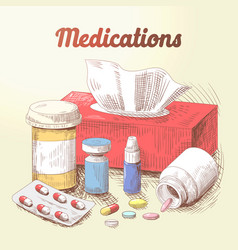 hand drawn medications pills and tablets doodle vector image