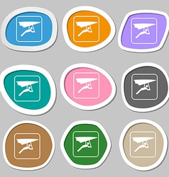 Hang-gliding symbols Multicolored paper stickers vector