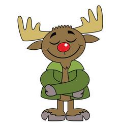 Happy moose cartoon character vector