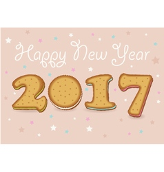 Happy New Year 2017 Sweet cookies font vector