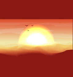 Hot red and orange empty desert panoramic vector