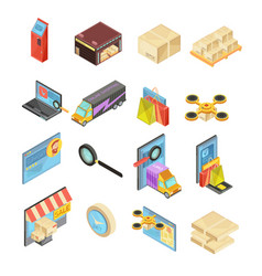 internet store isometric set vector image
