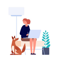 isolation period woman sitting home working vector image