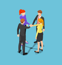 isometric business people putting their hands vector image
