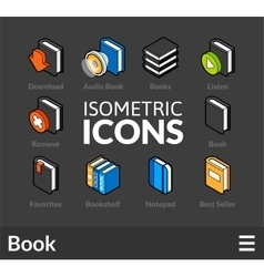 Isometric outline icons set 43 vector image
