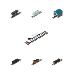 isometric railway set of railroad carriage vector image