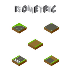 Isometric road set of footpath bitumen crossroad vector