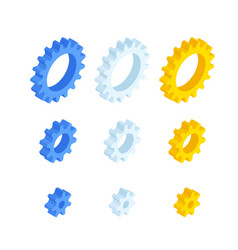isometric ste gears and cogs isolated on white vector image