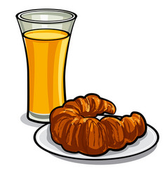 juice and croissant vector image